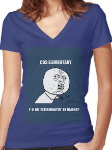 Y U No Exterminated By Daleks? Women's Fitted V-Neck T-Shirt
