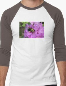 Bumble Bee on Rhododendron Men's Baseball ¾ T-Shirt