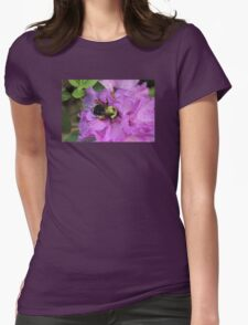 Bumble Bee on Rhododendron Womens Fitted T-Shirt