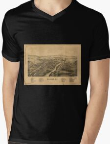 Panoramic Maps Greene NY Mens V-Neck T-Shirt