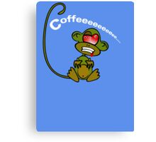 Coffee Monkey - Monday mornings... (On blue) Canvas Print