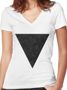 Black Starry Triangle Women's Fitted V-Neck T-Shirt