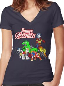 Ponies, assemble! Women's Fitted V-Neck T-Shirt