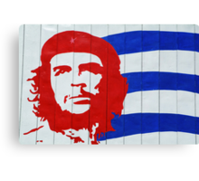 Che Guevara portrait and national Cuban flag Canvas Print