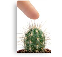 Pressing finger on cactus Canvas Print