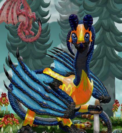 Blue Dragon Warrior Sticker