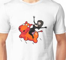 Riding an inflatable red donkey Unisex T-Shirt