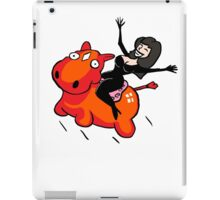 Riding an inflatable red donkey iPad Case/Skin