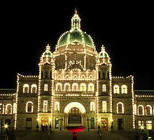 Victoria - The Legislature & The Red Fountain at Night by rsangsterkelly