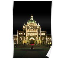Victoria - The Legislature & The Red Fountain at Night Poster
