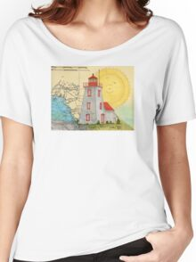 Gereaux Island Lighthouse Ontario Canada Map Peek Women's Relaxed Fit T-Shirt