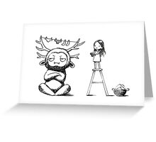 Girl and a monster Greeting Card