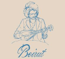 Beirut - Zach Condon with ukulele - light blue by Alex Magnus