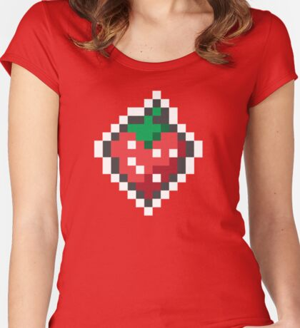 strawberry pixels Women's Fitted Scoop T-Shirt