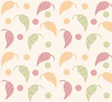 Seamless pattern with hand drawn leaves with line patterns by BlueLela