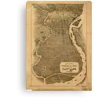 Panoramic Maps Birds eye view of Philadelphia and vicinity showing location of the Philadelphia  Reading Railroad Canvas Print