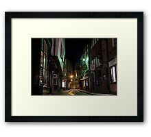 The Shambles by night in York. North Yorkshire. Framed Print