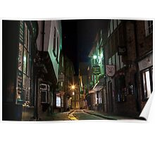 The Shambles by night in York. North Yorkshire. Poster