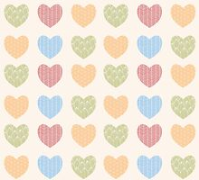 Seamless pattern with ornamental heart shaped symbols, line drawings by BlueLela