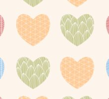 Seamless pattern with ornamental heart shaped symbols, line drawings Sticker