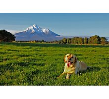 """""""Mount Taranaki looks more beautiful when I am lying in front of her"""" Photographic Print"""