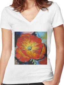 Poppy Women's Fitted V-Neck T-Shirt