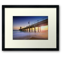 Huntington Beach Pier Sunset Framed Print