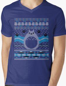 Totoro Knitted Neighbor Mens V-Neck T-Shirt