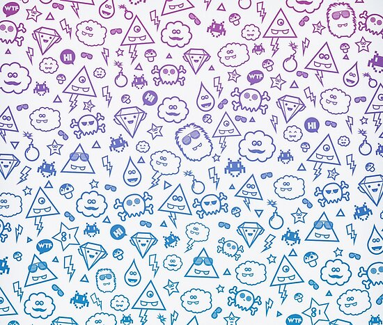 Crazy and Cute Monster Patter in blue pink by badbugs