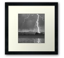 Lightning Striking Longs Peak Foothills  5CBW Framed Print