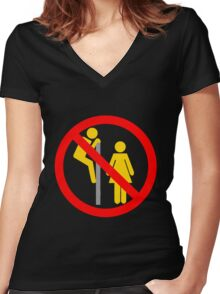 Forbidden Peek Women's Fitted V-Neck T-Shirt