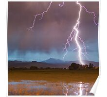 Lightning Striking Longs Peak Foothills  5 crop Poster