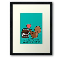 A Squirrel's Nutella (Teal) Framed Print