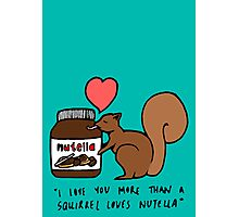 A Squirrel's Nutella (Teal) Photographic Print