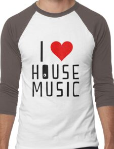 i love house music Men's Baseball ¾ T-Shirt