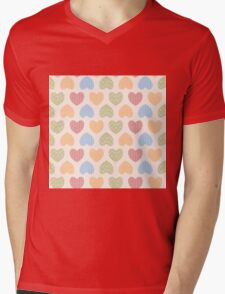 Seamless pattern with ornamental heart shaped symbols, line drawings Mens V-Neck T-Shirt