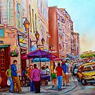 PAINTINGS OF OLD MONTREAL STREETS LA CREME DE LA CREME by Carole  Spandau