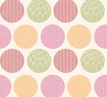 Seamless pattern with ornamental circles and line drawings by BlueLela