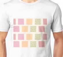 Seamless pattern with ornamental square shapes and line drawings Unisex T-Shirt