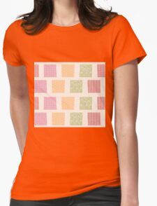 Seamless pattern with ornamental square shapes and line drawings Womens Fitted T-Shirt