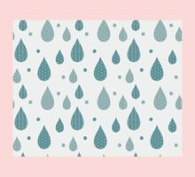 Seamless pattern with ornamental rain drops and line drawings Kids Tee