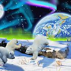 Three Playful Polar Bear Cubs & Aurora Earth Day Art by Skye Ryan-Evans