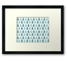 Seamless pattern with ornamental rain drops and line drawings Framed Print