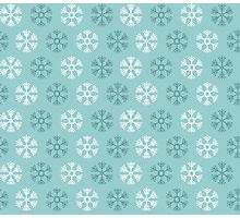 Seamless pattern with blue and white christmas snowflakes on blue background Photographic Print