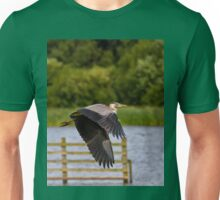 Grey Heron in flight Unisex T-Shirt