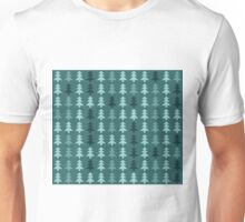 Seamless pattern with christmas trees on blue background Unisex T-Shirt