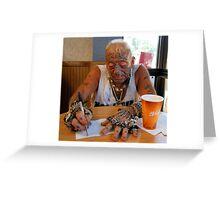 Tatto man at McDonalds Greeting Card