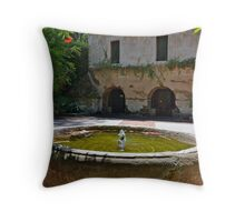 Looking past the fountain into the court yard at El Molino Viejo. The Old Mill. Throw Pillow