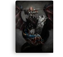 Lady-knight on Dragon Canvas Print