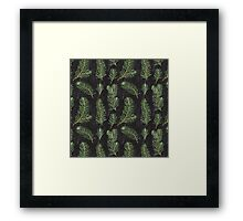 Watercolor pine branches pattern on black background Framed Print